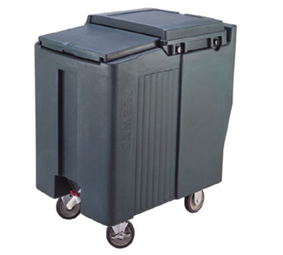 "Cambro ICS175T110 Mobile SlidingLid Tall Ice Caddy - 175-lb Capacity, 5"" Castors, Black"