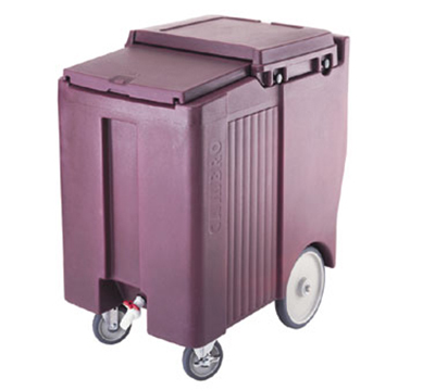 Cambro ICS175TB131 Mobile SlidingLid Tall Ice Caddy - 175-lb Capacity, Wheels/Castors, Dark Brown