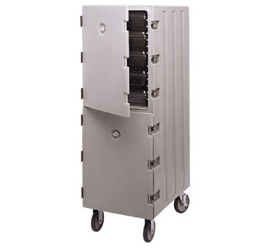 Cambro 1826DBC157 Double Camcart Food Storage Box Cart - Coffee Beige