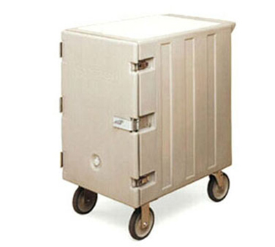 Cambro 1826LBCSP157 Double Camcart Food Storage Cart - Security Package, Cutting Board, Coffee Beige
