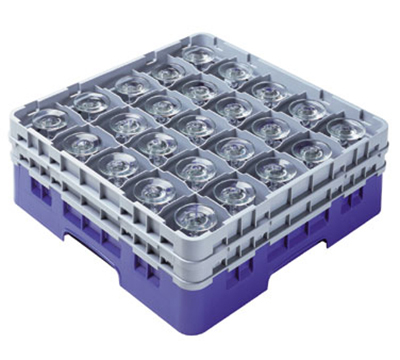 Cambro 25S418151 Camrack Glass Rack with Extender - 25-Compartment, Low Profile, Soft Gray