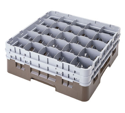 Cambro 25S534151 Camrack Glass Rack - (2)Extenders, 25-Compartment, Low Profile, Soft Gray