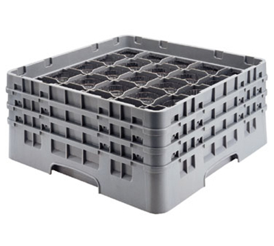 Cambro 25S800151 Camrack Glass Rack - (4)Extenders, 25-Compartment, Soft Gray