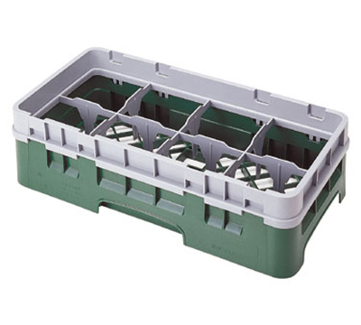Cambro 8HS638151 Camrack Glass Rack - Half Size, (3)Extenders, 8-Compartment, Soft Gray