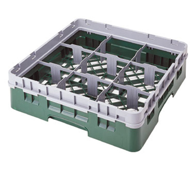 Cambro 9S800110 Camrack Glass Rack - (4)Extenders, 9-Compartments, Black