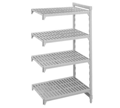 "Cambro CSA44487480 Camshelving Add-On Unit - (4)Shelves, 24x48x72"" Speckled Gray"