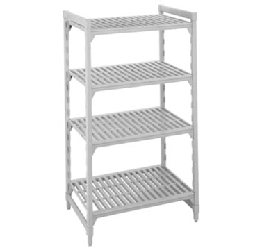 "Cambro CSU44606480 Camshelving Starter Unit - 24x60x64"" (4)Shelves, Speckled Gray"