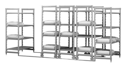 "Cambro CSUHD44487480 Mobile Shelving Starter Unit - (4)Vented Shelves, 24x48x75"" Speckled Gray"