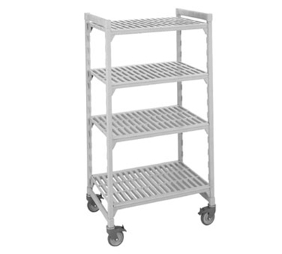 "Cambro CSUR48426480 Mobile Shelving Starter Unit - (4)Shelf, 18x42x67"" Speckled Gray"