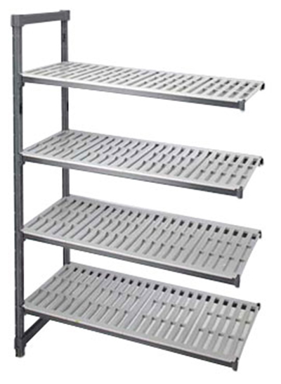 "Cambro EA214864 580 Camshelving Elements Add-On Unit - 21x48x64"" Brushed Graphite"