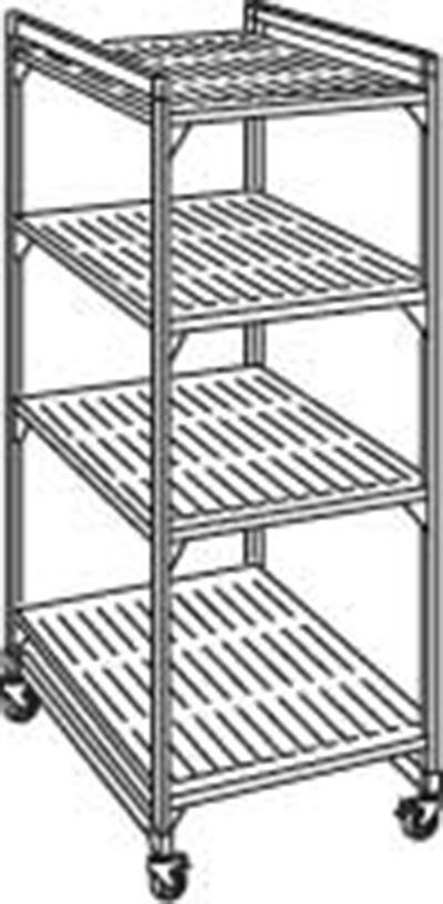 "Cambro EMU184878P 580 Mobile Starter Shelving Unit - (4)Shelf, 18x48x78"" (4)Castors, Brushed Graphite"