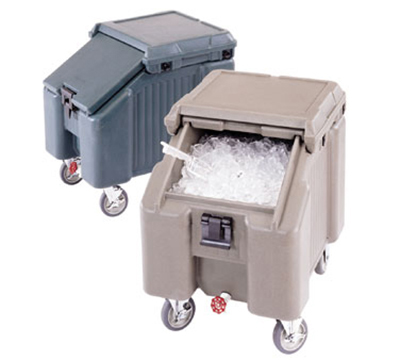 Cambro ICS100L191 Mobile Slant Top Ice Caddy - 100-lb Capacity, Granite Gray