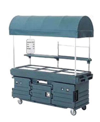 Cambro KVC856C186 CamKiosk Cart with Canopy - (6)Pan Wells, Navy Blue/Beige