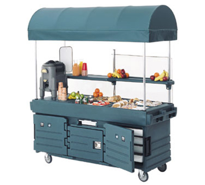 Cambro KVC854C186 CamKiosk Cart with Canopy - (4)Pan Wells, Navy Blue/Beige