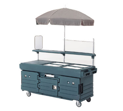 Cambro KVC854U191 CamKiosk Cart with Umbrella - (4)Pan Wells, Granite Gray/Beige/Green