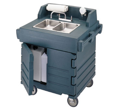 Cambro KSC402220186 International CamKiosk Hand Sink Cart - Navy Blue 220v