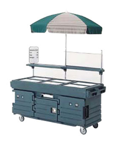 Cambro KVC856U186 CamKiosk Cart with Umbrella - (6)Pan Wells, Navy Blue/Beige/Green