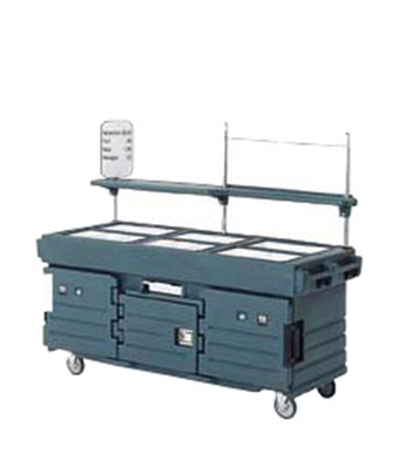 Cambro KVC856192 CamKiosk Cart - (6)Pan Wells, Granite Green