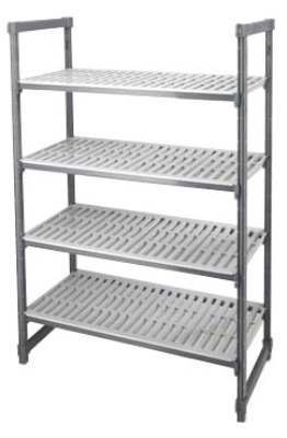 Cambro ESU213664 580 Vented Stationary 4-Shelf Unit 21 x 36 x 64-H in NSF Gray Restaurant Supply