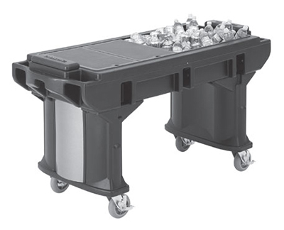 "Cambro VBRTHD5158 69"" Cold Food Bar Work Table - (4)Full Size Pans, 6"" HD Castors, Hot Red"