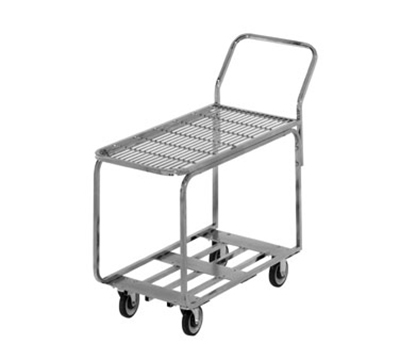 Channel STKC200G 38.25-in Mobile Stocking Cart w/ Galvanized Top Shelf & Tubular Bottom, Nickel/Chrome
