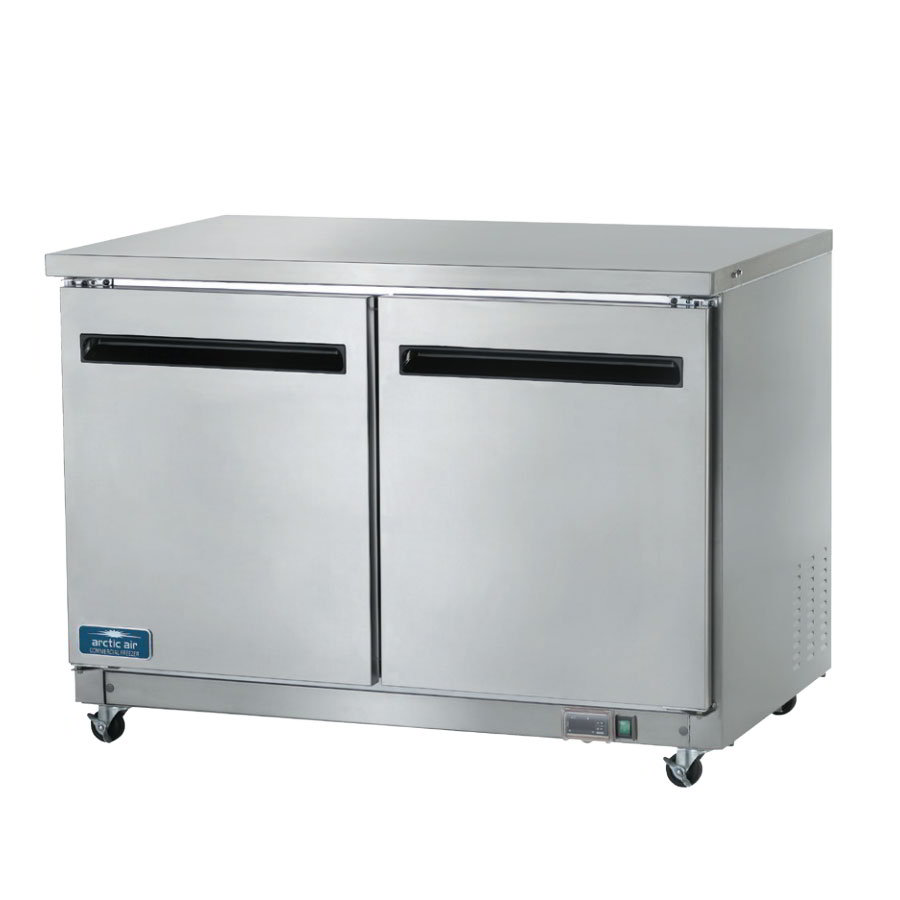 "Arctic Air AUC48F 48"" Undercounter Freezer - 2-Solid Doors, 12 cu ft, Stainless/Aluminum"