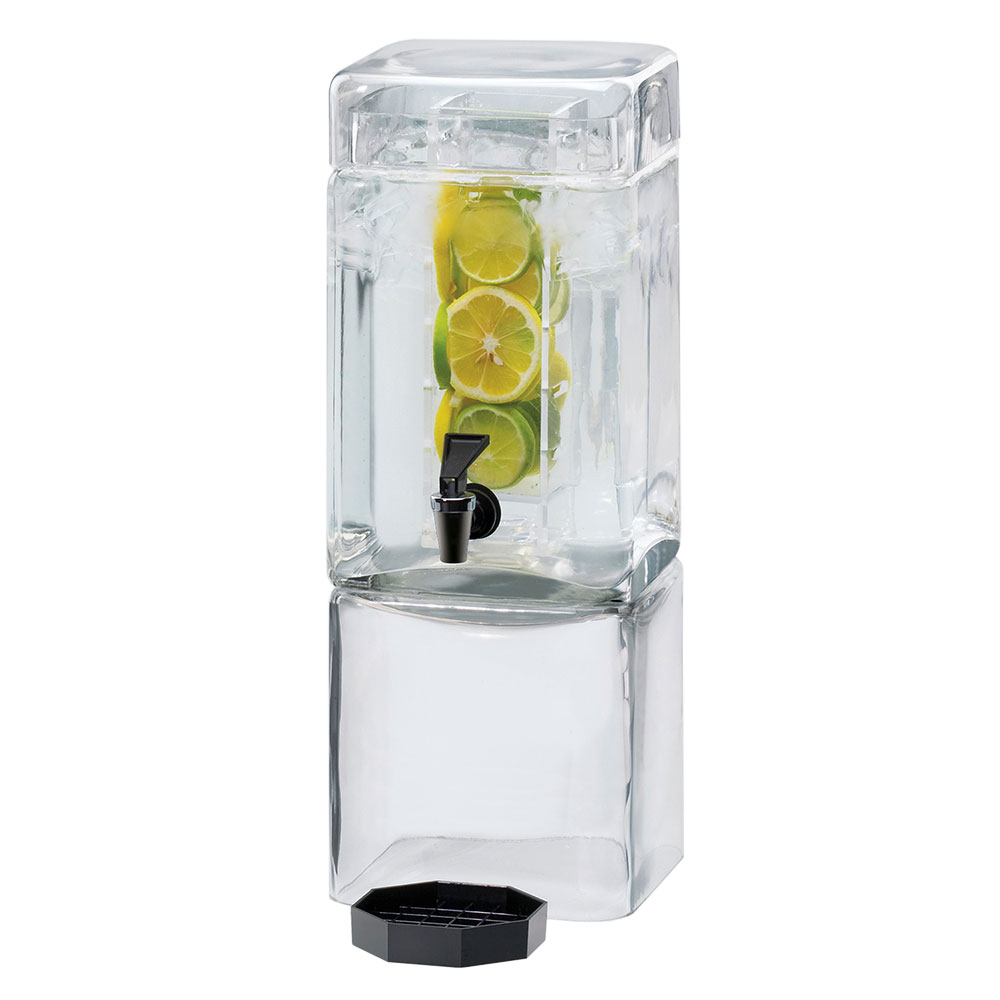 Cal-Mil 1112-1AINF 1.5-Gallon Square Acrylic Beverage Dispenser w/ Infusion Chambe