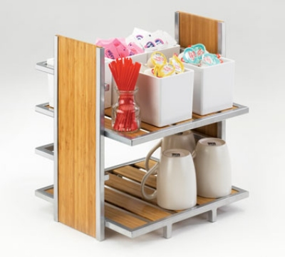 Cal-Mil 1278 Eco Modern Merchandiser w/ 2-Tiers, Silver Wire & Bamboo