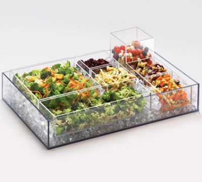 Cal-Mil 1397-12 Clear Cater Choice Tray For Cater Choice System, 20 x 7 x 3-in