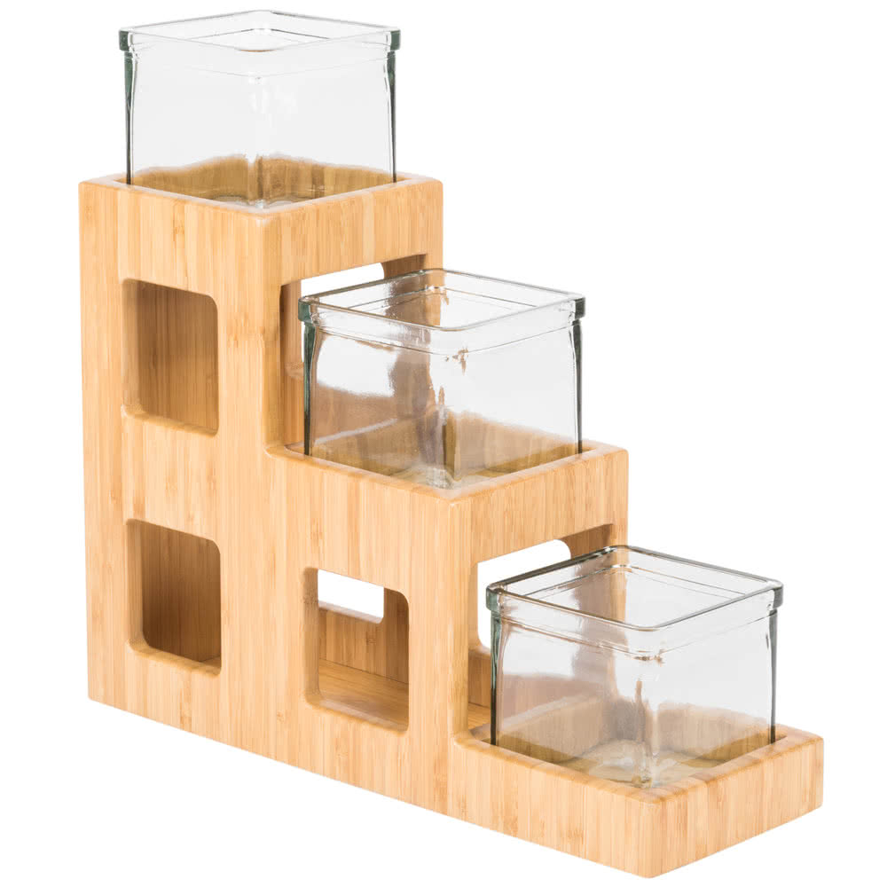 Cal-Mil 1486 Bamboo In Line Jar Display w/ (3) 4 x 4-in Jars, 14 x 5 x 13-in H