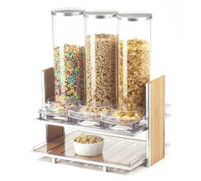 Cal-Mil 1499 2.7-L Cereal Dispenser w/ 3-Bins, Silver Wire & Bamboo