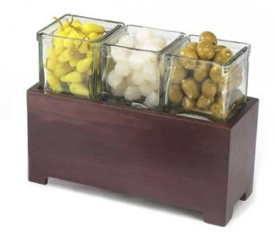 Cal-Mil 1549-6-52 Jar Display w/ Glass jars, 12.5 x 4.75 x 6-in, BPA Free