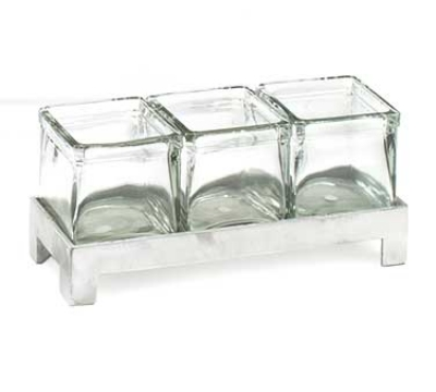 Cal-Mil 1560-2 Jar Display w/ 4-in Square Jars, BPA Free, 2-in High, Aluminum