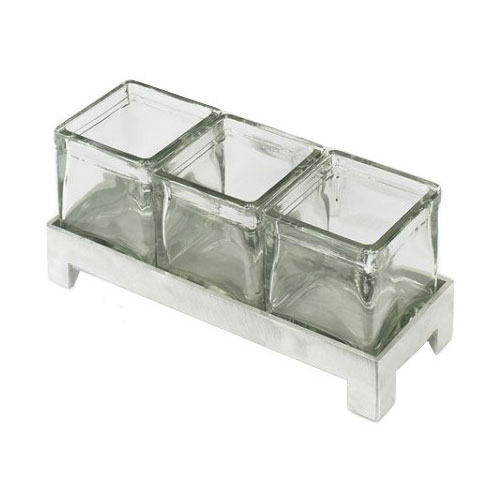 Cal-Mil 1560-4 Jar Display w/ 4-in Square Jars, BPA Free, 4-in High, Aluminum