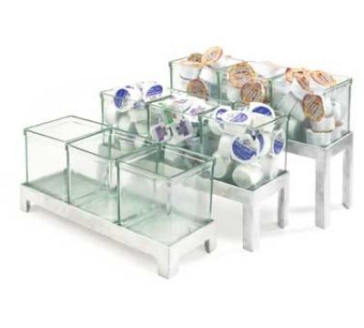 Cal-Mil 1561-4 Jar Display w/ 5-in Square Jars, BPA Free, 4-in High, Aluminum