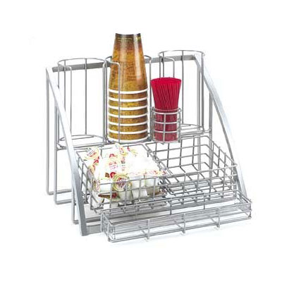 Cal-Mil 1715-39 Beverage Caddy For Cups, Lids, Straws, Creamers & Packets, Silve