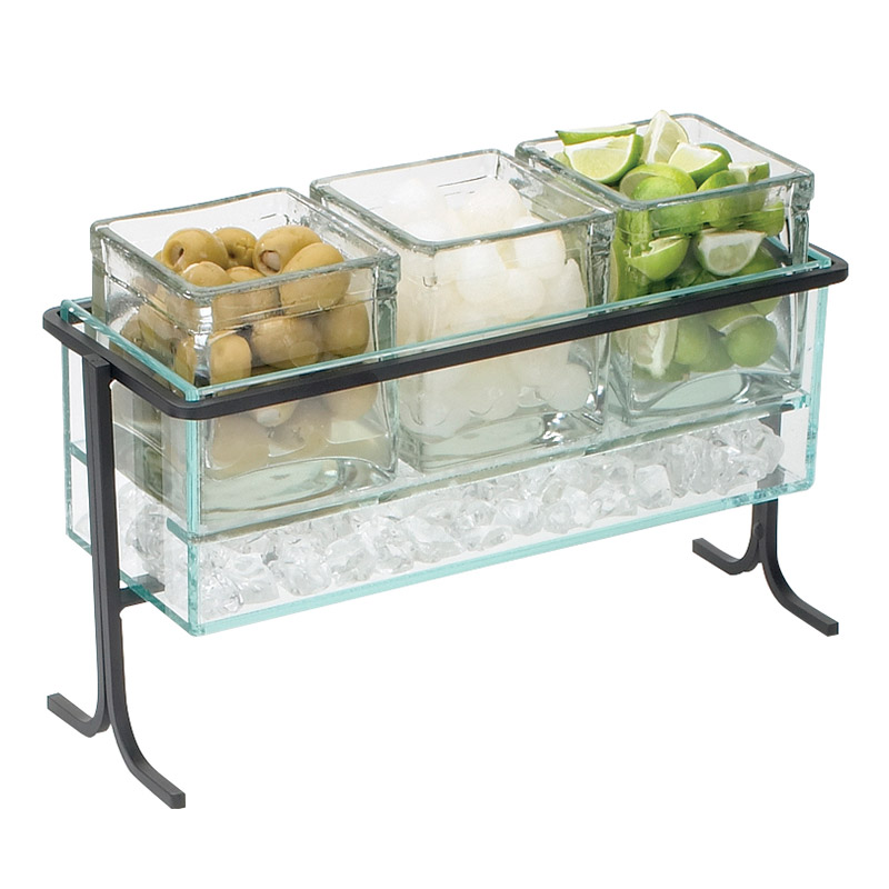 Cal-Mil 1806-7-39 Horizontal Icing Jar Caddy w/ For 3-Jars, 13.5 x 5.5 x 9-in, Silver