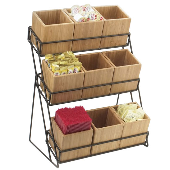 Cal-Mil 1817-13 9-Bin Tiered Display, 13 x 9.5 x 17.5-in, Black