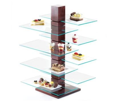 Cal-Mil 831-SQ Square Glass Shelf For 791-52 Pillar Riser, 20 x 10