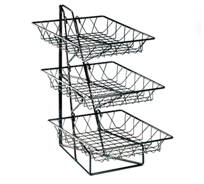 Cal-Mil 1293-3 3-Tier Display Rack w/ 12-in Square Wire Baskets, Bl