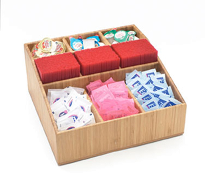 Cal-Mil 1714 Bamboo Coffee Amenity Organizer w/ 9-Compartments