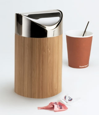 Cal-Mil 1717-60 Countertop Trash Can w/ Bamboo Body & Stainless Top, 5 ...
