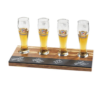 Cal-Mil 2064 Rectangular Write-On Tray Beer Flight - Crushed Bamboo
