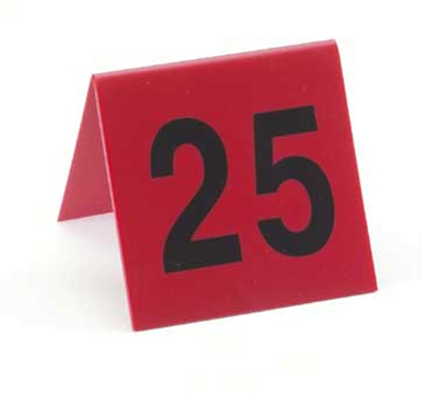 Cal-Mil 226-3 Table Tent Set, Numbers 76 Through 100, Red w/ Black Numbers