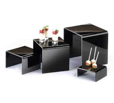 Cal-Mil 237 4-Display Risers w/ (1)-Each 8-in H, 6-in H, 4-in H & 2-in H, Black