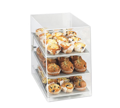 Cal-Mil 260 Countertop Display Case w/ Rear Door & (3) 10 x 14-in Trays, Clear