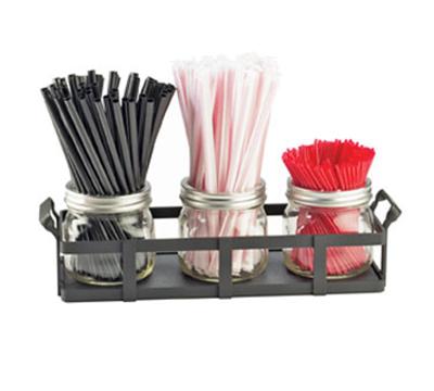 Cal-Mil 3334-13 Straw Stir-Stick Holder - Glass, Black