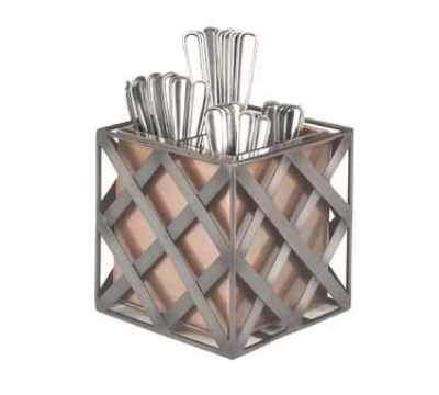 Cal-Mil 343-51 Decorative Cutlery Holder w/ Removable 4-Way Insert, Copper Tone