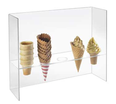 Cal-Mil 394 5-Hole Cone Holder w/ Guard & 2-in Diam Hole Size, 16-in H, Clear