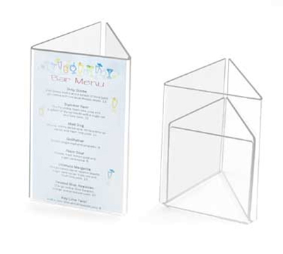 Cal-Mil 541 Clear Acrylic Triangle Card Holder, 4 x 6-in High Card Size